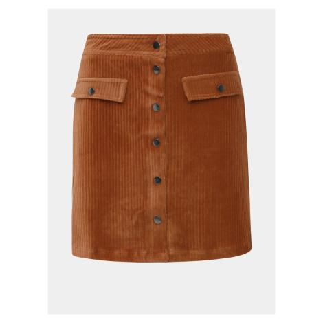 Hnedá menčestrová sukňa ONLY Fenja