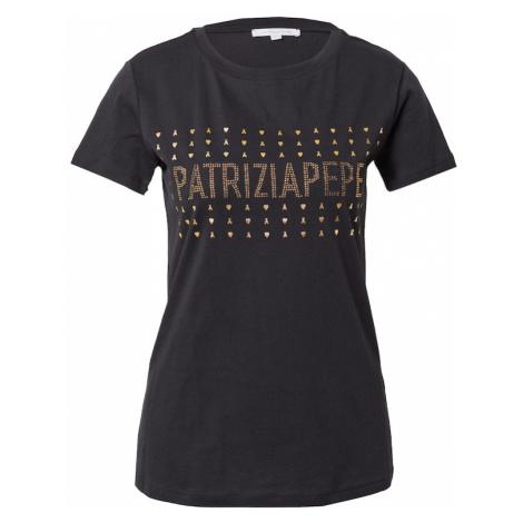 PATRIZIA PEPE Tričko 'MAGLIA'  čierna / zlatá