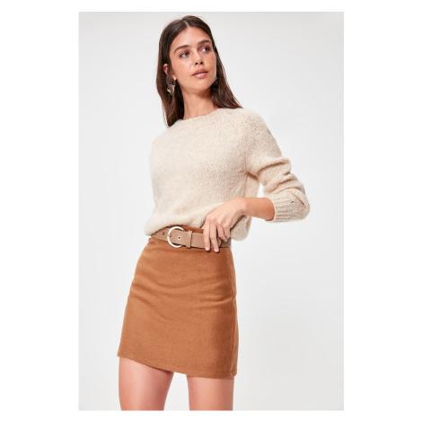 Trendyol Camel Zipper Detailed Skirt