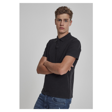 Pánska polokošeľa URBAN CLASSICS Garment Dye Pique Poloshirt black washed