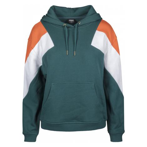 Urban Classics Mikina  biela / tmavozelená / oranžová