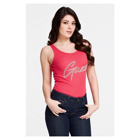 Guess ružové tielko Front Logo Tank Top