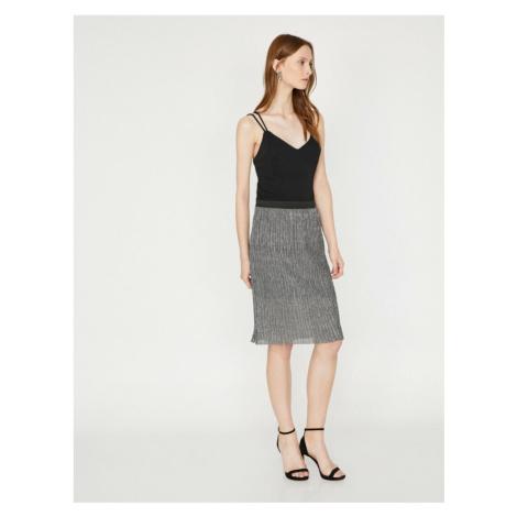 Koton Women Gray Midi Normal Waist Skirt