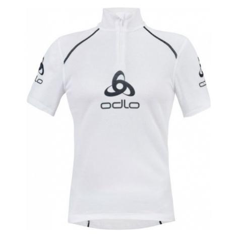 Odlo STAND-UP COLLAR S/S 1/2 ZIP ORIGINALS LIGHT LOGOLINE biela - Pánske funkčné tričko