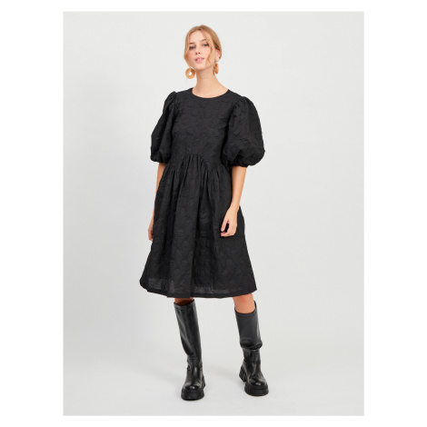 Čierne voľné šaty s balonovými rukávmi VILA Ula