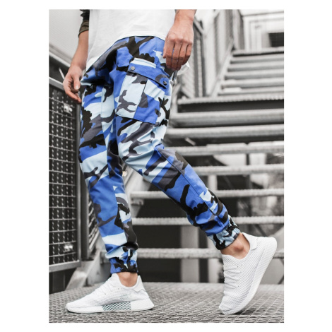 Modro-čierne maskáčové trendy joggery A/0853