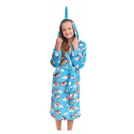 Dievčenský plyšový župan s jednorožcom modrý