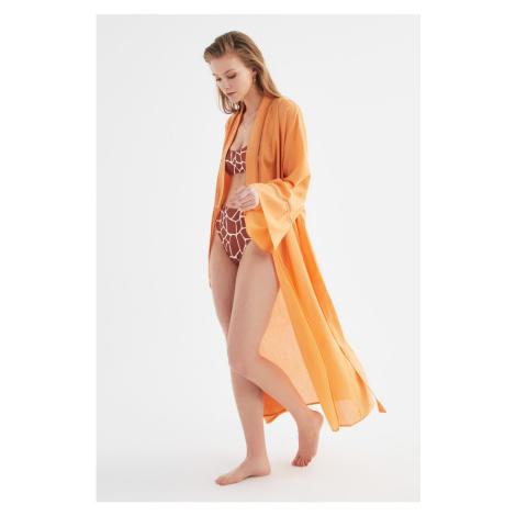 Trendyol Orange Stripe Detailed Kimono & Kaftan
