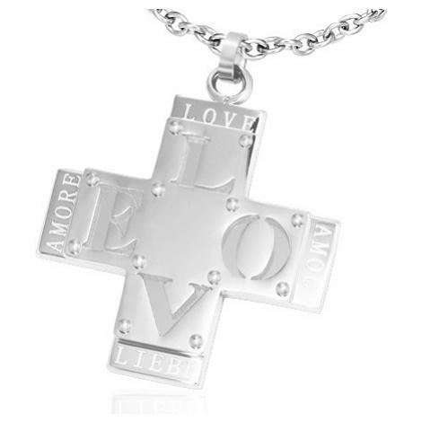 """Prívesok z ocele - dvojitý kríž s nápisom """"LOVE"""""""