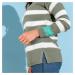 Blancheporte Pulóver s pruhmi a gombíkmi khaki/ražná