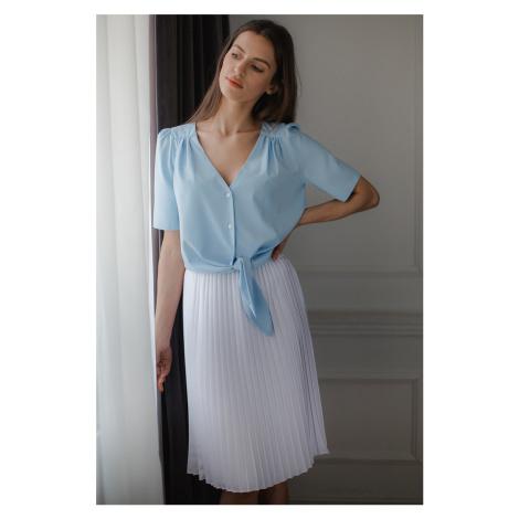 Biela midi sukňa L078 Lenitif