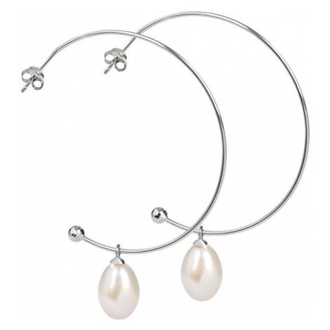 JwL Luxury Pearls Strieborné polkruhové náušnice 2v1 s pravými perlami JL0296