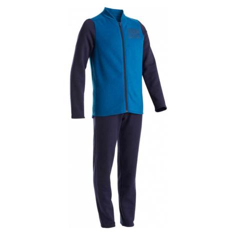 DOMYOS Chlapčenská hrejivá súprava 100 na cvičenie Warmy Zip modrá MODRÁ 161-172cm14-15R