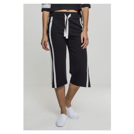 Dámske teplákové nohavice URBAN CLASSICS Ladies Taped Terry Culotte black/white