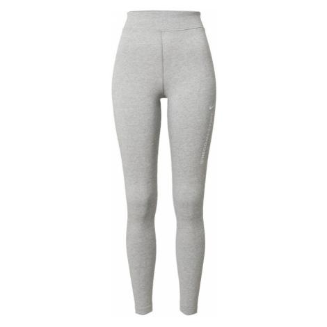 NIKE Športové nohavice 'Swoosh'  biela / sivá melírovaná