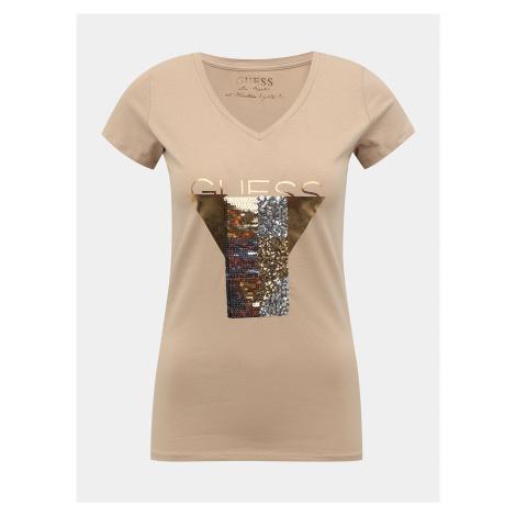 Béžové dámske tričko s potlačou Guess