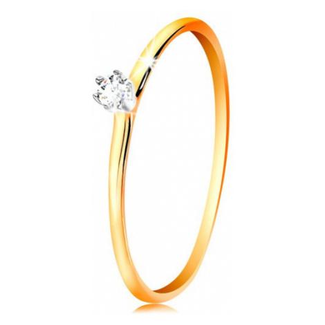 Zlatý prsteň 585 - číry zirkón v kotlíku z bieleho zlata, tenké ramená - Veľkosť: 62 mm