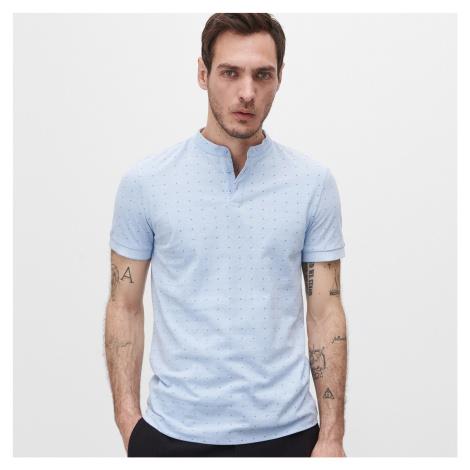 Reserved - Tričko polo slim fit z organickej bavlny - Modrá