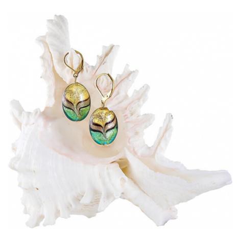 Lampglas Elegantné náušnice Green Sea World z perál Lampglas s karátovým zlatom EP26