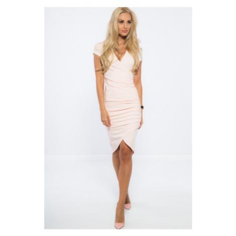 Nazberkané, asymetrické, svetloružové šaty. FASARDI