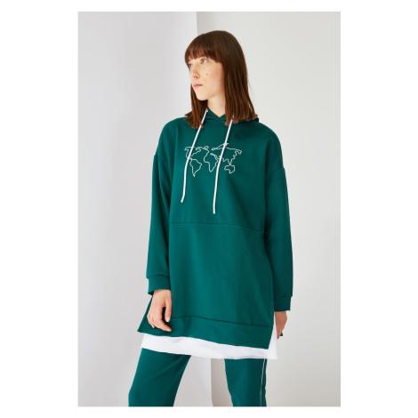 Trendyol Emerald Green Printed Hooded Knitted Sweatshirt