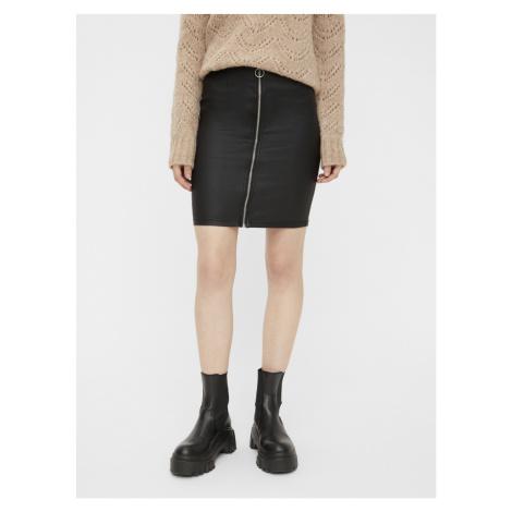 Čierna koženková sukňa Pieces Roxy