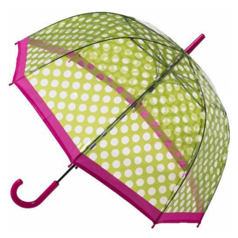 Blooming Brollies Dámsky dáždnik Clear Dome Stick Umbrella with Green polka dots POESGP
