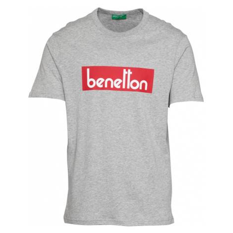 UNITED COLORS OF BENETTON Tričko  sivá melírovaná / biela / červená
