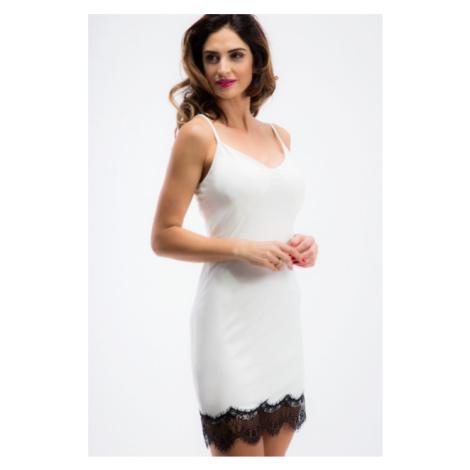 Sexi, smotanové šaty na ramienka s čipkou FASARDI