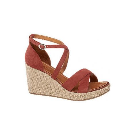 Červené kožené sandále na klinovom podpätku 5th Avenue