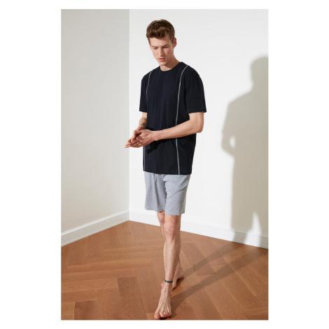 Trendyol Navy Blue Tile Stitched Knitted Pyjama Set