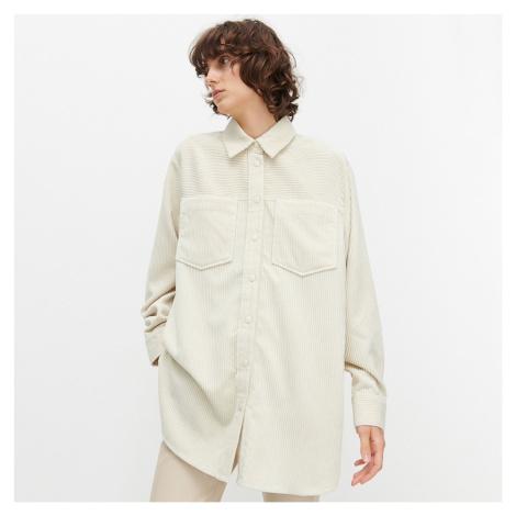 Reserved - Menčestrová oversize košeľa - Béžová