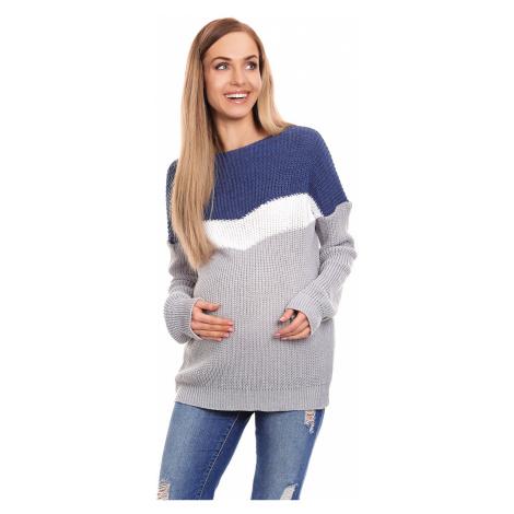Sivo-modrý tehotenský pulóver 40023 PeeKaBoo