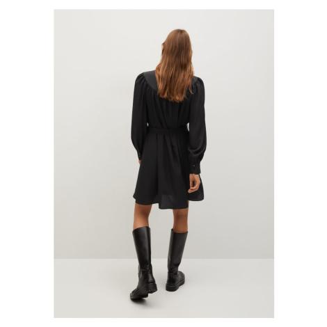 MANGO Košeľové šaty  čierna
