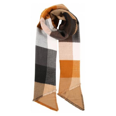 PIECES Šál 'RECCA'  svetlohnedá / oranžová / sivá / čierna