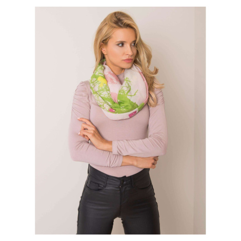 Dark pink and green scarf with a print