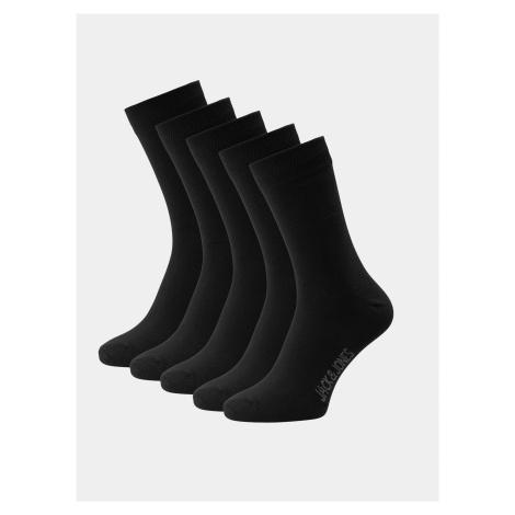 Sada piatich párov čiernych ponožiek Jack & Jones Jens