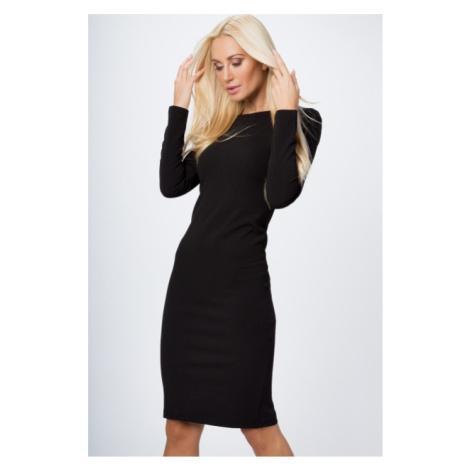 Priliehavé šaty s dlhým rukávom, výstrihom a zipsom na zadnej strane, čierne FASARDI