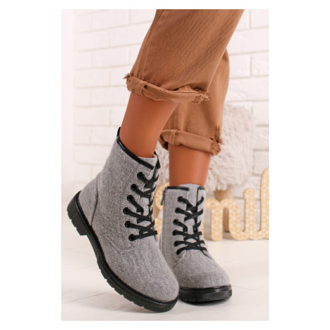 Sivé členkové topánky z vlny 2-25267 Marco Tozzi