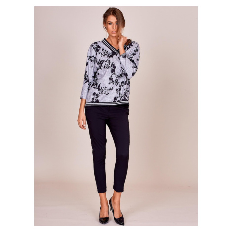 Gray floral blouse with welts