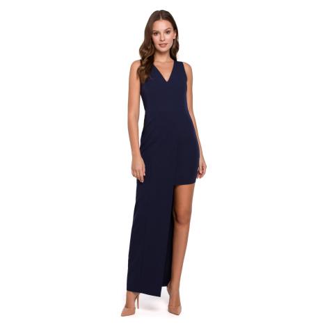 Makover Woman's Dress K026 Navy Blue