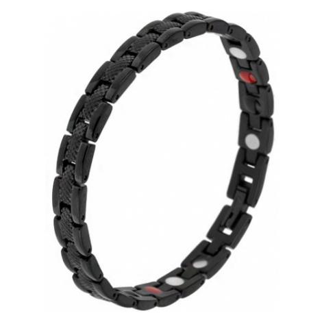 """Čierny magnetický náramok z ocele, hadí vzor, """"Y"""" články, guličky"""
