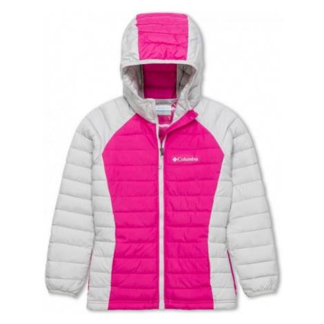 Columbia POWDER LITE GIRLS HOODED JACKET ružová - Dievčenská bunda