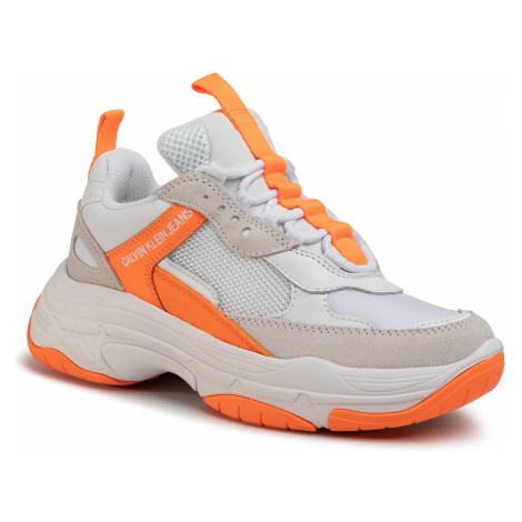 Sneakersy CALVIN KLEIN JEANS - Maya R0802 White/Orange Fluo