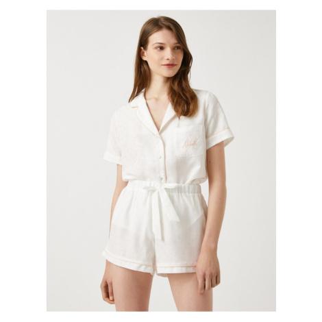 Koton Women's OFF WHITE Pajama Top Shirt Collar Short Sleeve Bridal