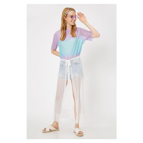 Koton Women's Ecru Normal Waist Maxi Lace Detailed Skirt