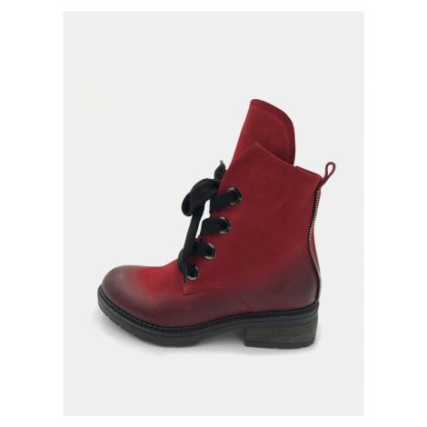 Červené dámske kožené členkové topánky WILD