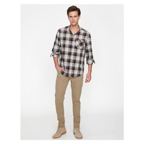 Koton Men's Coffee Tight Cut Pants