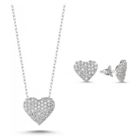 OLIVIE Sada strieborných šperkov SRDCE 3427