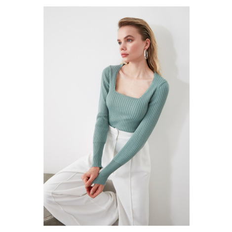 Trendyol Mint Square Collar Knit Sweater